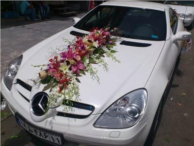 عکس ماشین عروس تیبا تزیین شده با تور عکس تزیین ماشین عروس نیسان نوعروس نقاشی شده