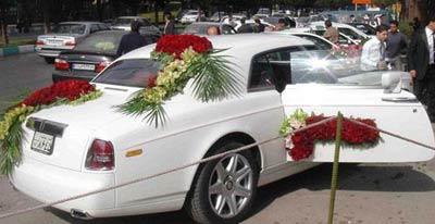 عکس ماشین عروس گل آرایی شده گلکاری شده مدل گل