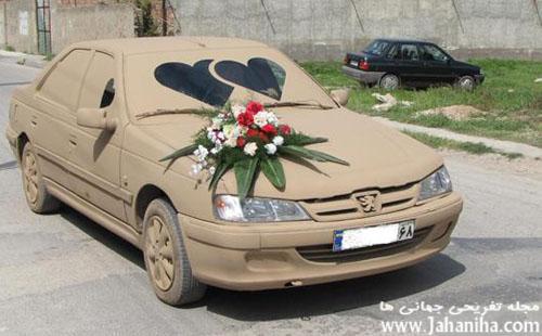 عکس ماشین عروس و داماد دوو ارومیه خنده دار تصادف ماشین عروس در عجیب شاسی بلند تزیین شده