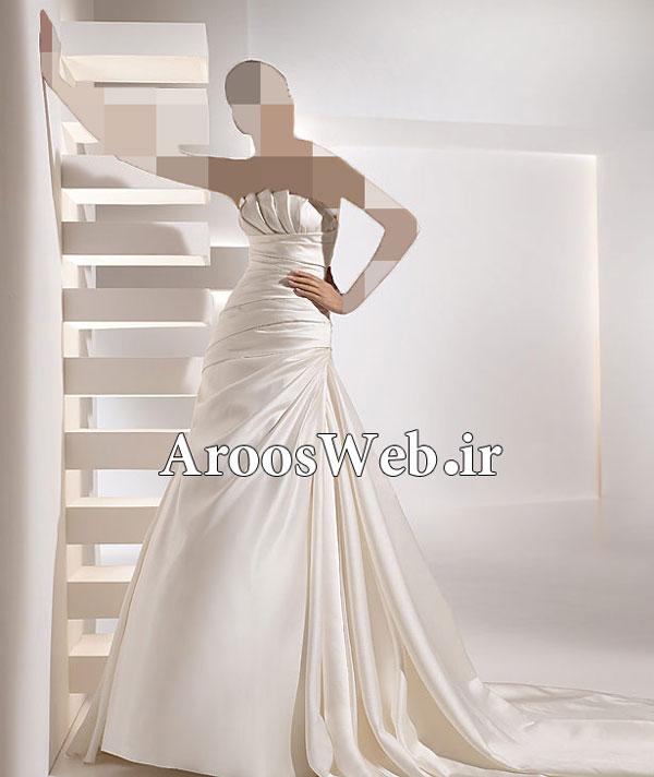 لباس عروس دنبایه دار -لباس عروس پف دار -لباس عروس یقه دار
