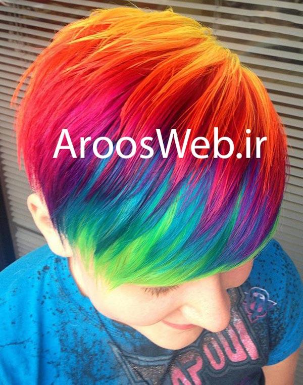 رنگ و مش رنگین کمانی  - مدل رنگ و مش زیبا - جدیدترین متد رنگ و مش - هایلایت و مش چند رنگ